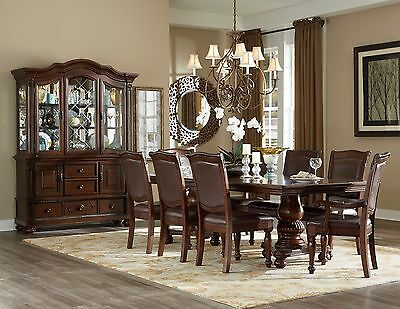 Homelegance Dining Table Set - NEW 9PC LORDBOURG FORMAL TRADITIONAL BROWN CHERRY LEATHER WOOD DINING TABLE SET