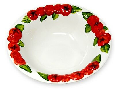 ital. Relief Keramik Schale Tomate rot runde Schüssel, Servierschale ca.27cm Ø Rote Keramik