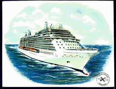 Originalart Work Celebrity Silhouette  Celebrity Cruises  W Ships Official Stamp
