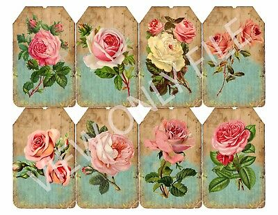 8 Vintage Shabby Chic Pink Rose Hang Tags Scrapbooking Paper Crafts - Shabby Chic Scrapbook Paper