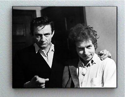 Rare Framed Johnny Cash with Bob Dylan Vintage Photo. Jumbo Giclée Print