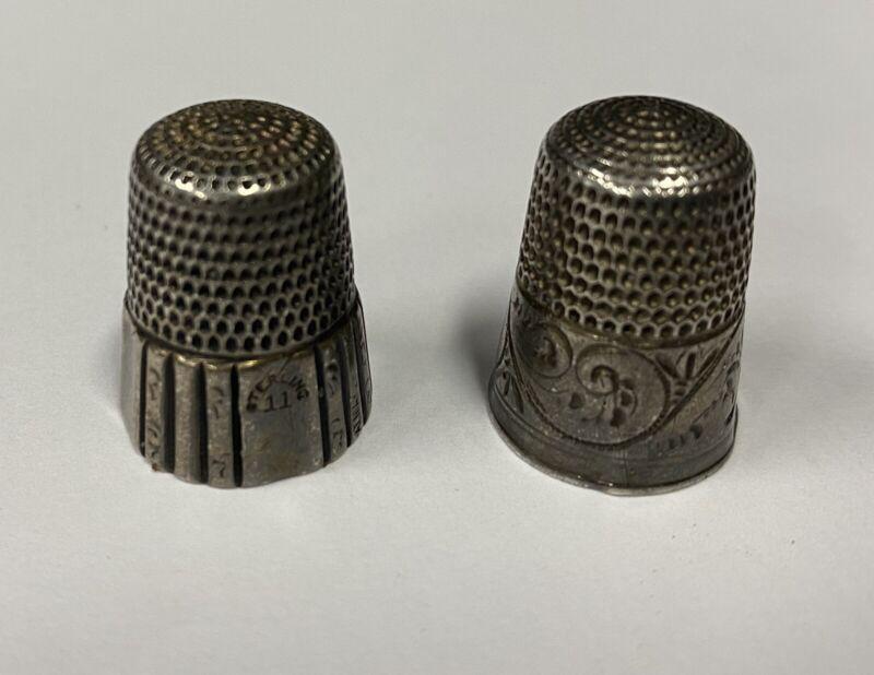 2 vintage Simons, Phil. PA.  sterling silver thimbles