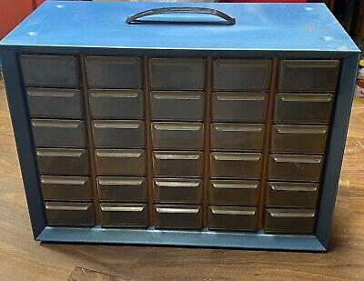 Vintage Akro Mils Metal 30 Drawer Cabinet Organizer Storage Box Bins Parts Craft