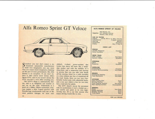 1968 ALFA ROMEO SPRINT GT VELOCE ~ ORIGINAL SMALLER ROAD TEST / ARTICLE / AD