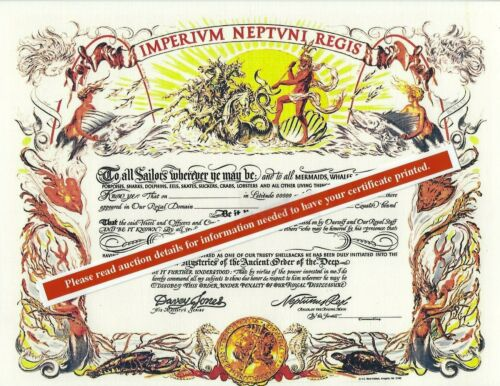 "Shellback ""Imperivm Neptvni Regis"" 8.5X11 replacement certificate US Navy"