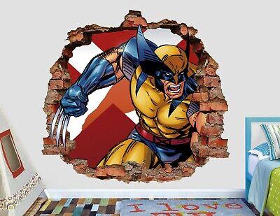 X Men Wolverine Attack Brick Wall Decal Kids Smashed 3D Sticker Art Vinyl AH286 - X Men Kids