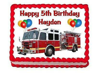 Fire Truck Firefighter party edible cake topper frosting sheet - Fire Truck Cake