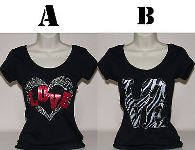 Women Sexy Love T Shirt Regular   Plus Size  Rhinestone  Lace Casual And Fitness