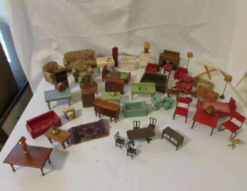 Large Lot of Antique 1940s Dollhouse Furniture in Wood & Metal & Fabric