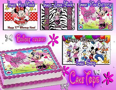 Minnie Mouse edible Birthday Cake or Cupcake toppers picture sheet paper sugar - Minnie Birthday Cake