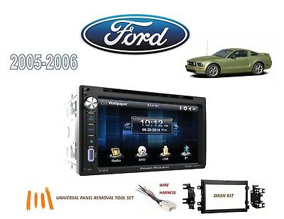 2005-2006 FORD MUSTANG DOUBLE DIN STEREO KIT, BLUETOOTH USB TOUCHSCREEN (Ford Mustang Stereo)