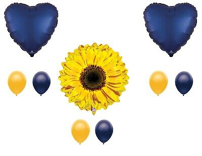 Navy Blue Sunflower Balloon  Happy Birthday Decoration Supplies Summer  - Sunflower Balloon