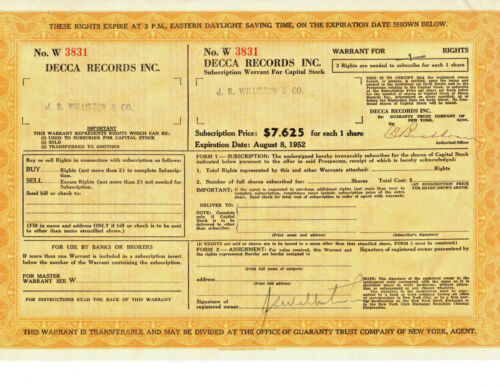 RARE Vintage DECCA RECORDS Stock Certificate Warrant Options from 1952