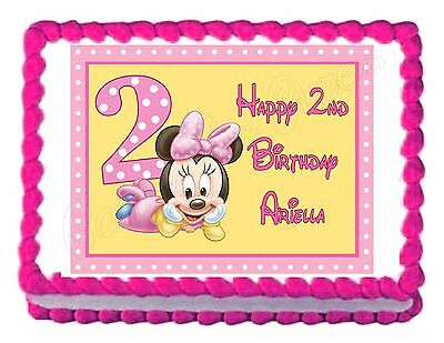 MINNIE MOUSE 2ND BIRTHDAY party edible cake image decoration frosting sheet](Minnie Mouse 2nd Birthday Decorations)