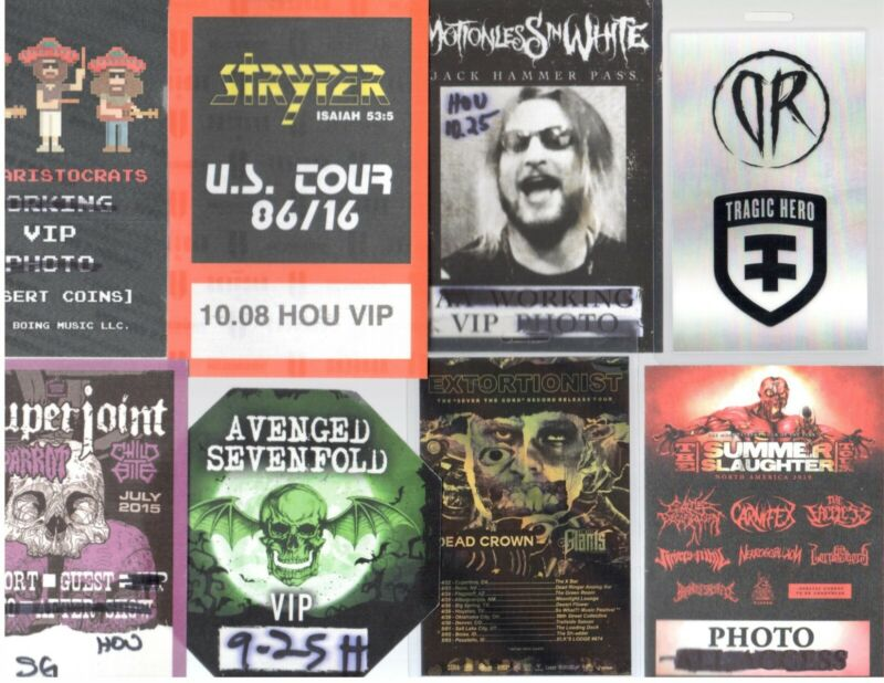 Show Passes Lot of 8! Avenged Sevenfold Aristocrats Superjoint Extortionist