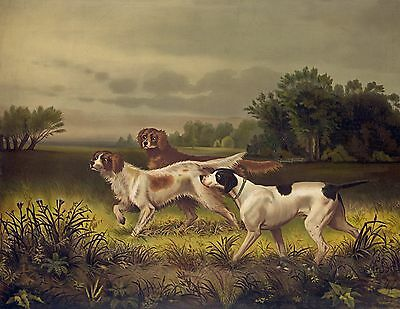 "1844- Bird Dogs, Hunting, wildlife, antique, Antique art print, 20""x16"""