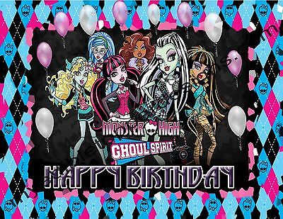 Monster High Cake Toppers (Monster High Personalized Edible Print Premium Cake Topper Frosting Sheet 5)
