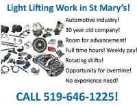 Full time Positions in St Marys- Light  industrial - apply now!