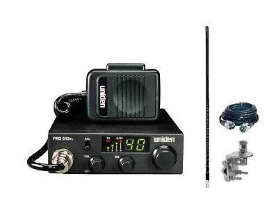 New Uniden Pro510XL Compact CB Radio, 4' 1000 watt Antenna, Coax & Mount Kit
