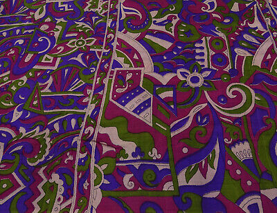 Vintage Saree Abstract Printed Pure Silk Craft Fabric 5 YD. -PS58327