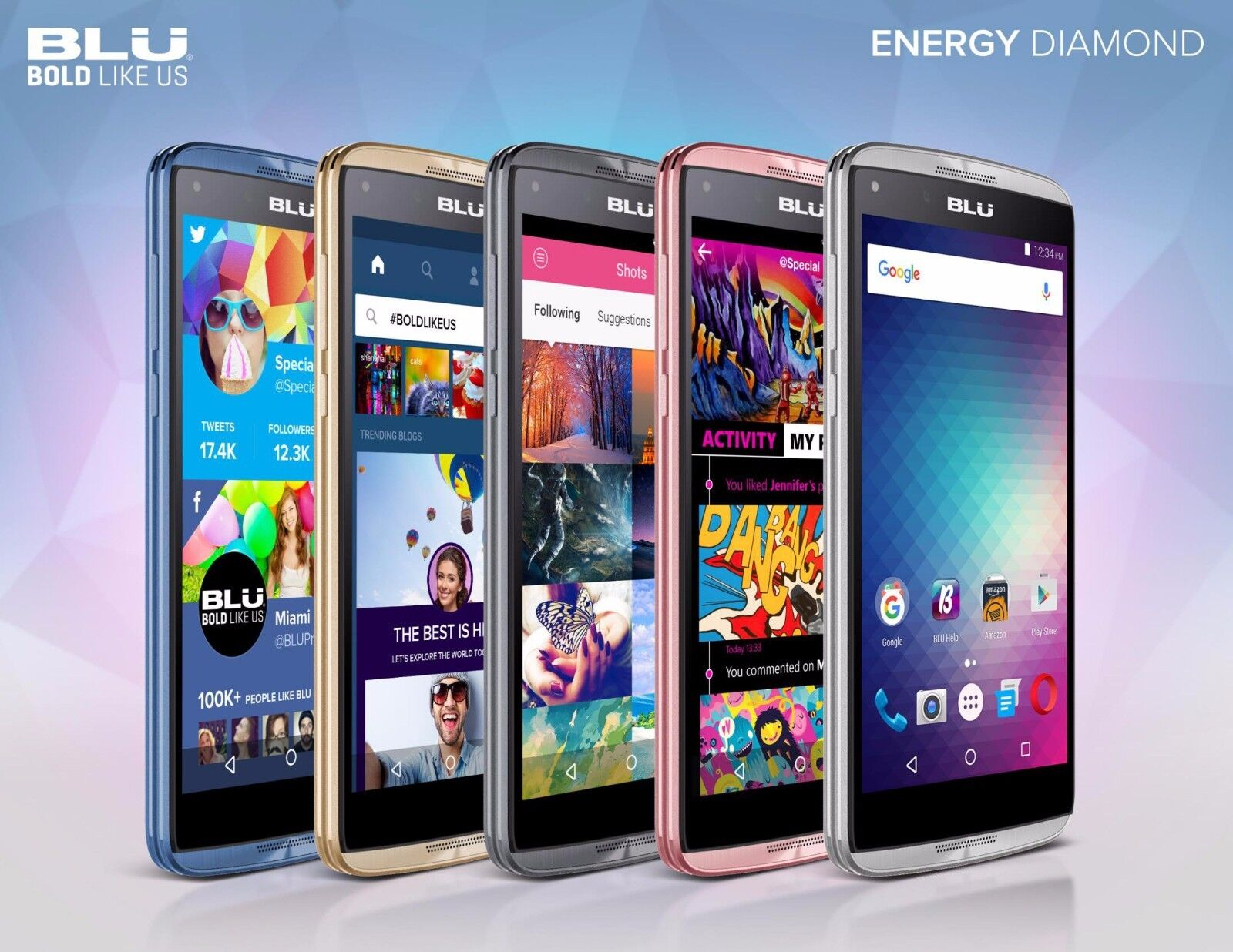 NEW UNLOCKED ANDROID SMARTPHONE  GSM DUAL SIM  CELL PHONE -BLU ENERGY DIAMOND MINI