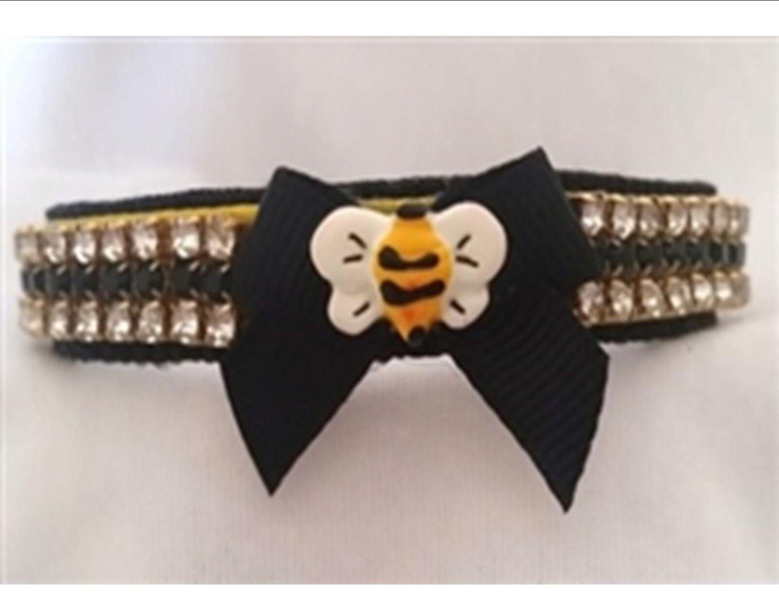 Pet Collar Rhinestone collar Bee Small dog collar cat collar