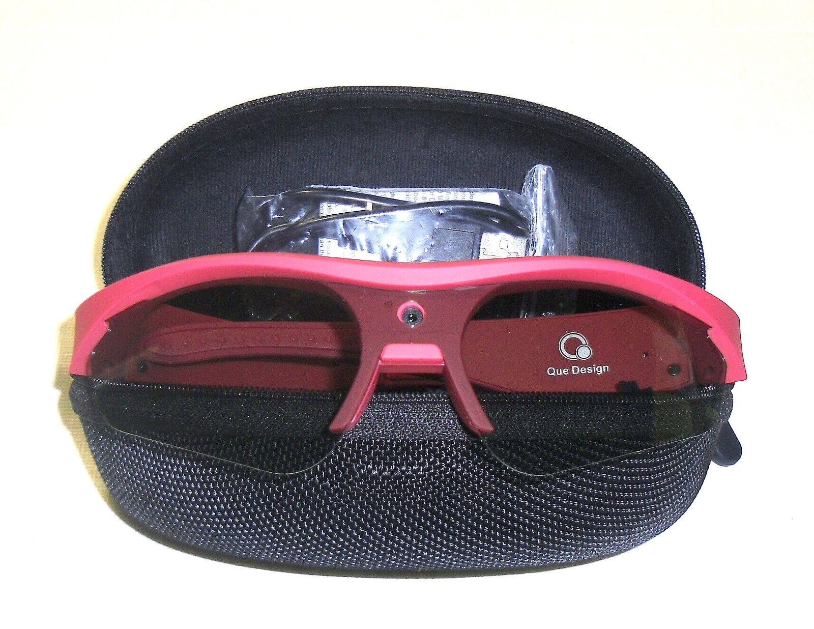 New, As Seen on QVC, QUE Cyclops 1080p HD Video Sun Glasses w/ 8GB SD Card RED