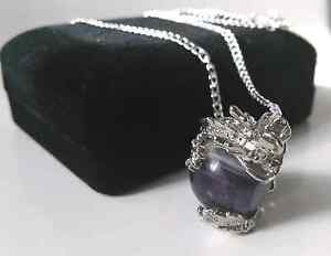 Amethyst Dragon Pendant Necklace and 925 Sterling Silver Chain Kallangur Pine Rivers Area Preview