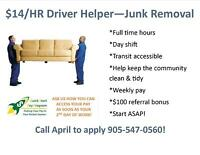 HIRING DRIVERS HELPERS IN HAMILTON! START ASAP!