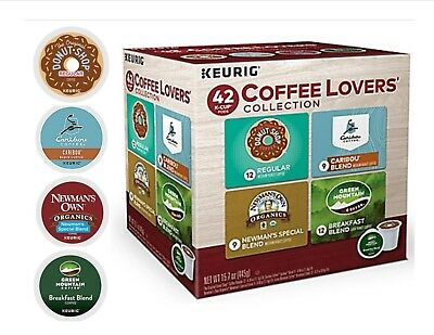 Keurig 42 K-CUP Coffee Lovers Variety Donut Shop,Caribou, Newmans,Green Mountain