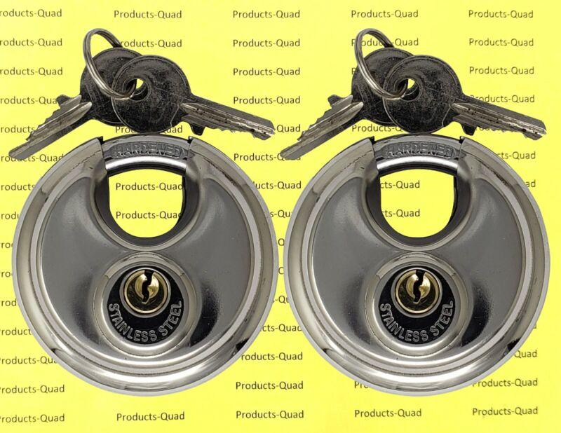 2x Stainless Steel Discus Lock Padlock Hardened Steel Shackle - Keyed Alike
