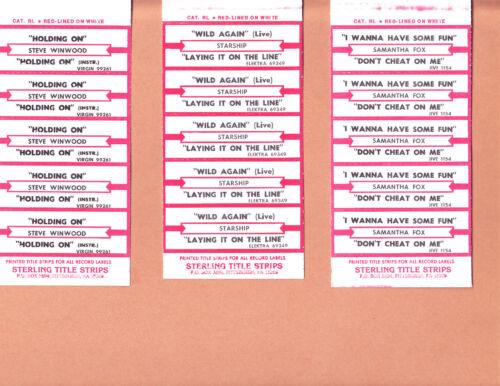 JUKEBOX TITLE STRIPS 100 COUNT LOT # 134 POP-ROCK TITLES STRIPS  20 HALF SHEETS