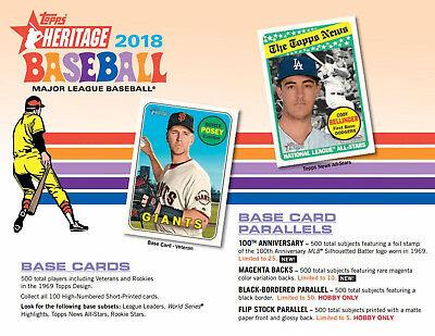 2018 Topps Heritage Baseball Factory Sealed Hobby Box