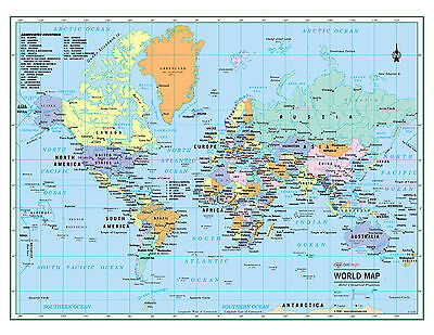 """WORLD Wall Map Political Poster 22""""x17"""" - LARGE PRINT Rolled Paper 2018"""