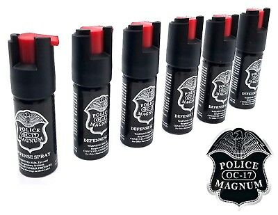 Lot of 6 Police Magnum pepper spray 1/2oz unit safety lock self defense security