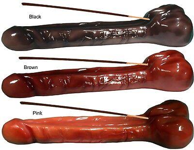 HANDMADE Incense Burner Big Man Penis Ebony Black Brown Peach by Nose Desserts®