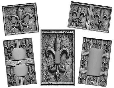 FLEUR DE LIS GREY STONE IMAGE KITCHEN HOME WALL DECOR LIGHT SWITCH PLATES ()