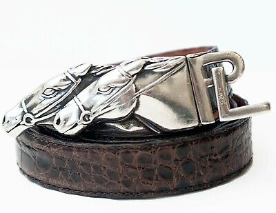 Ralph Lauren Vintage Genuine Alligator Sterling Silver Horse Equestrian Belt MED