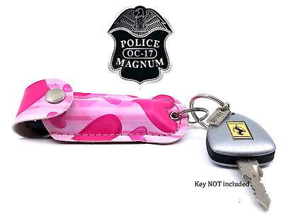 2 Police Magnum pepper spray .50oz pink heart keychain holster self defense
