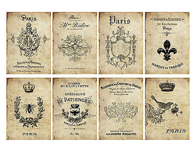 8 Shabby Chic Old French ATC Cards Hang Tags - Scrapbooking, Paper Crafts (156)