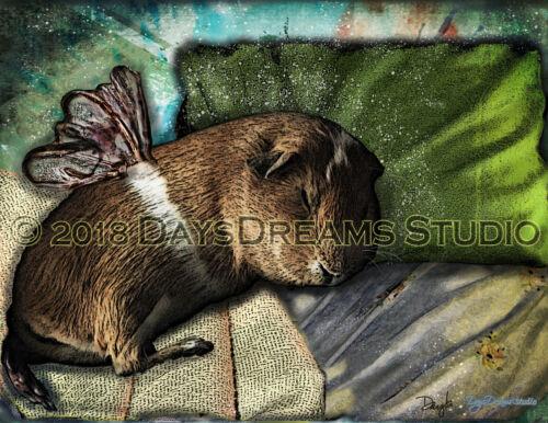 Guinea Pig Memorial Sleeping Angel Sympathy Wings Pet Portrait Wall Art Print