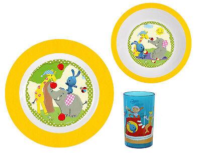 p:os 69742 Frühstücksset Kikaninchen, Teller, Schale und Becher 3-teilig melamin