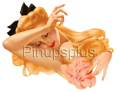 Rockabilly Long Blond Hair Pinup Girl Waterslide Decal Sticker Magnolia S128