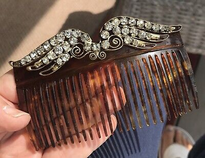 Victorian Wigs, Hair Pieces  | Victorian Hair Jewelry Antique Victorian Faux Tortoise Shell Celluloid Czech Rhinestone Bride Hair Comb $99.00 AT vintagedancer.com
