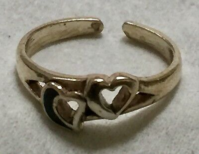 USA Seller Toe Ring Adjustable Sterling Silver 925 Thailand Beach Open 2 Hearts