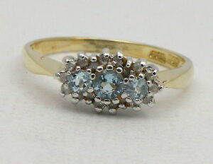 BJC-9kt-Oro-giallo-Topazio-Blu-E-Diamanti-Grappolo-misura-P