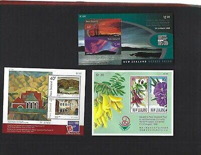 New Zealand sc#1531a, 1564a, 1600a (1998-9) Souvenir Sheets MNH