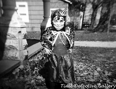 Girl in a Freaky Halloween Witch Costume - 1960s - Vintage Photo Print