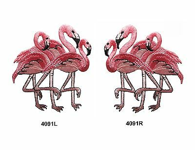 4091 Pink Flamingo Bird Embroidery Iron On Appliqu  Patch
