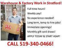 Full-Time Openings in Stratford - Call 519-340-0466